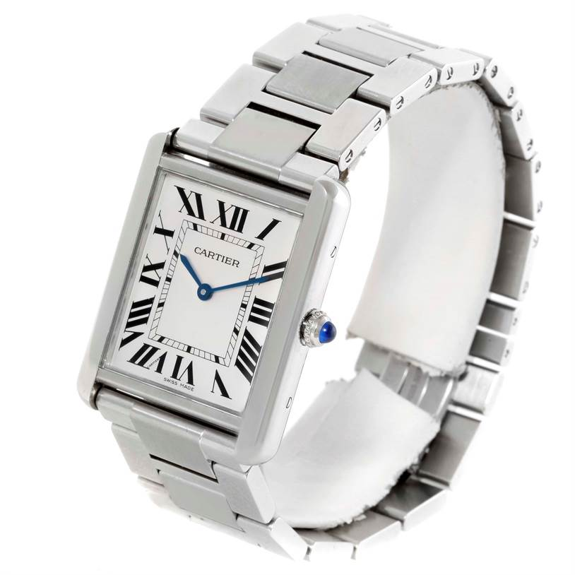 10077 Cartier Tank Solo Large Stainless Steel Silver Dial Watch W5200014 SwissWatchExpo