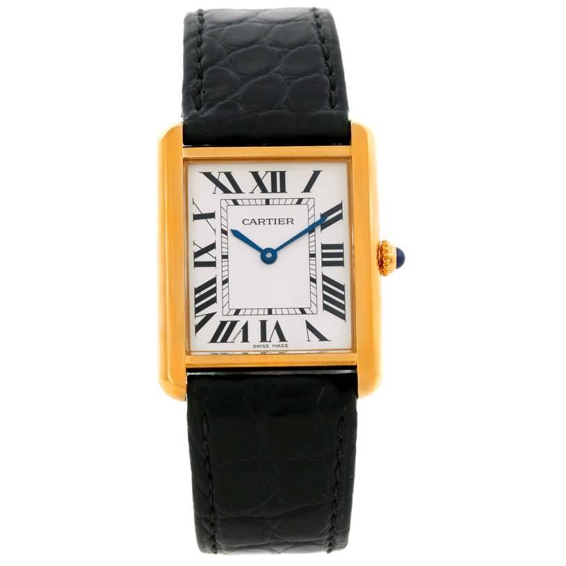 9503 Cartier Tank Solo 18k Yellow Gold Large Quartz Watch W1018855 SwissWatchExpo