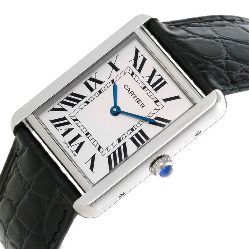 10472 Cartier Tank Solo Large Stainless Steel Watch W1018355 SwissWatchExpo