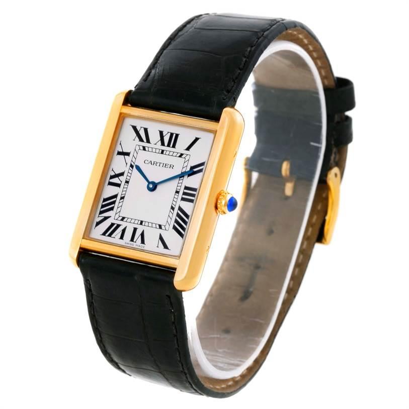 9626 Cartier Tank Solo 18k Yellow Gold Black Strap Watch W1018855 SwissWatchExpo