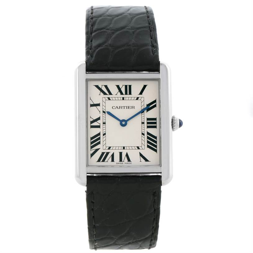 11561 Cartier Tank Solo Large Stainless Steel Black Strap Watch W1018355 SwissWatchExpo