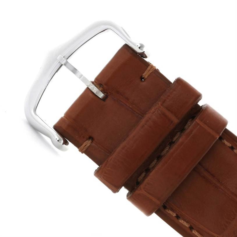 11593 Cartier Tank Solo Large Stainless Steel Brown Strap Watch W1018355 SwissWatchExpo