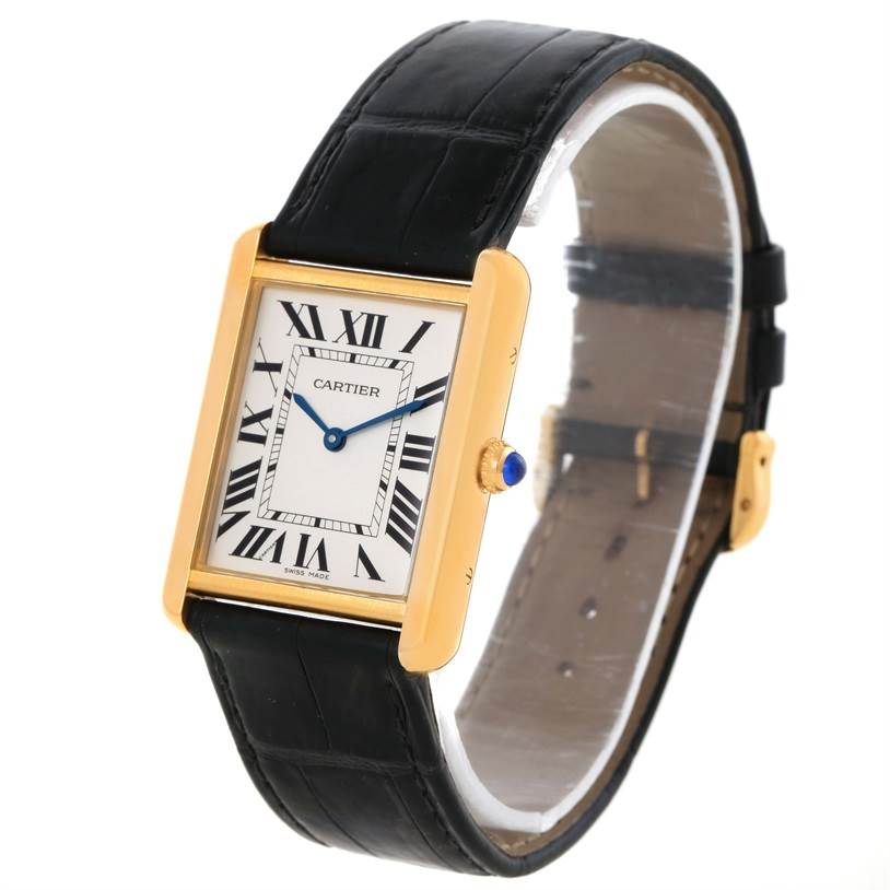11721 Cartier Tank Solo 18k Yellow Gold Black Strap Watch W1018855 Box Papers SwissWatchExpo