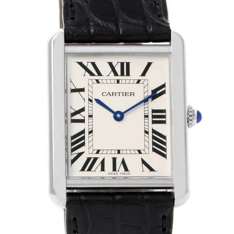 11989 Cartier Tank Solo Large Stainless Steel Unisex Watch W1018355 SwissWatchExpo