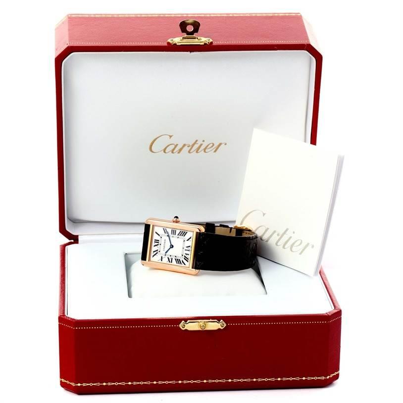 12221 Cartier Tank Solo 18k Rose Gold Black Strap Watch W5200025 Unworn SwissWatchExpo