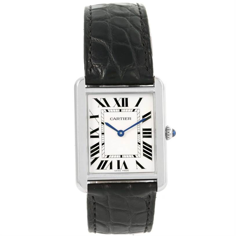 12232 Cartier Tank Solo Large Stainless Steel Unisex Watch W1018355 SwissWatchExpo
