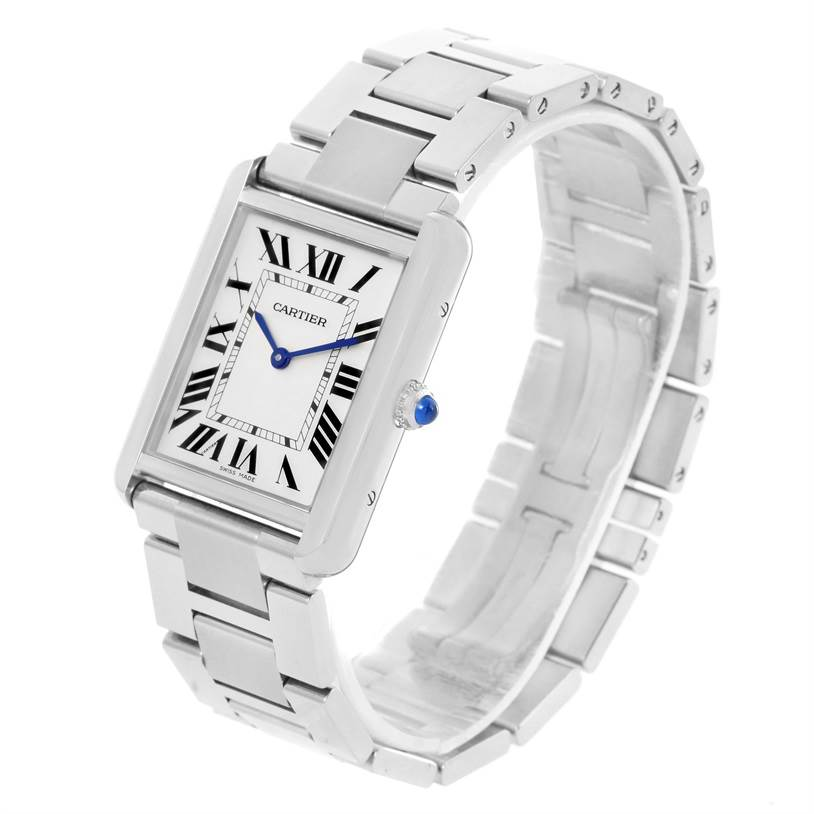 12273 Cartier Tank Solo Large Stainless Steel Silver Dial Watch W5200014 SwissWatchExpo