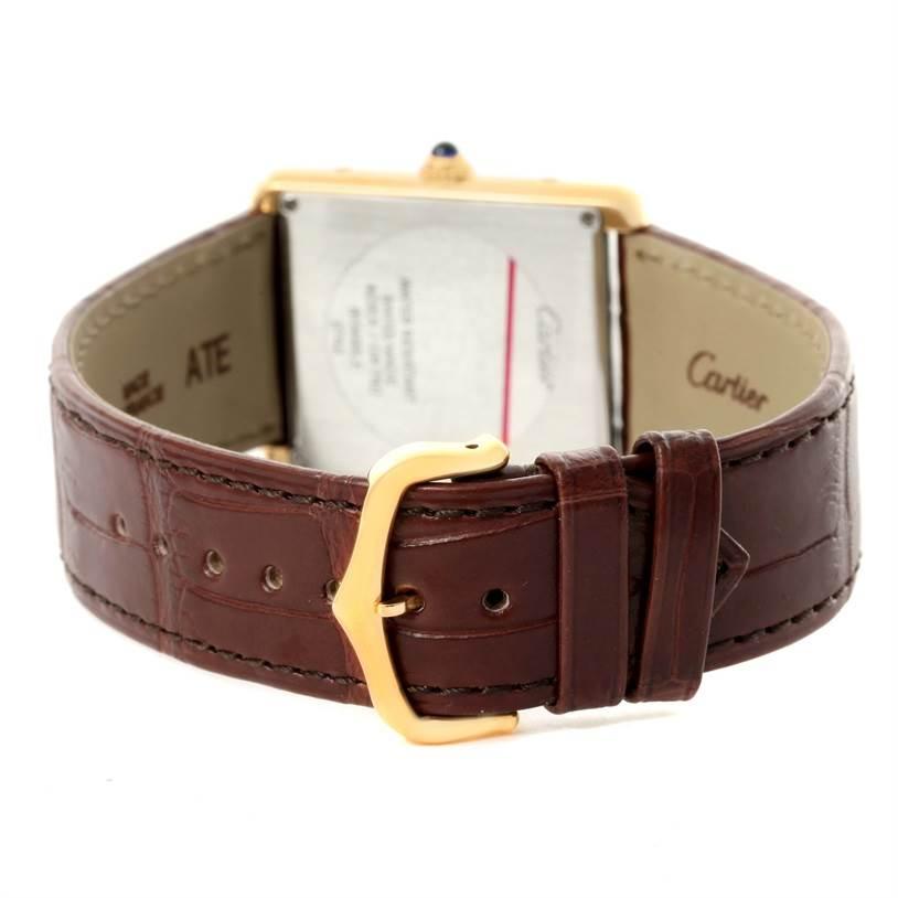 12074 Cartier Tank Solo 18k Yellow Gold Brown Strap Watch W1018855 Box SwissWatchExpo