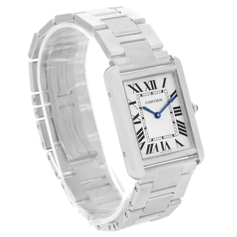 12274 Cartier Tank Solo Large Stainless Steel Silver Dial Watch W5200014 SwissWatchExpo