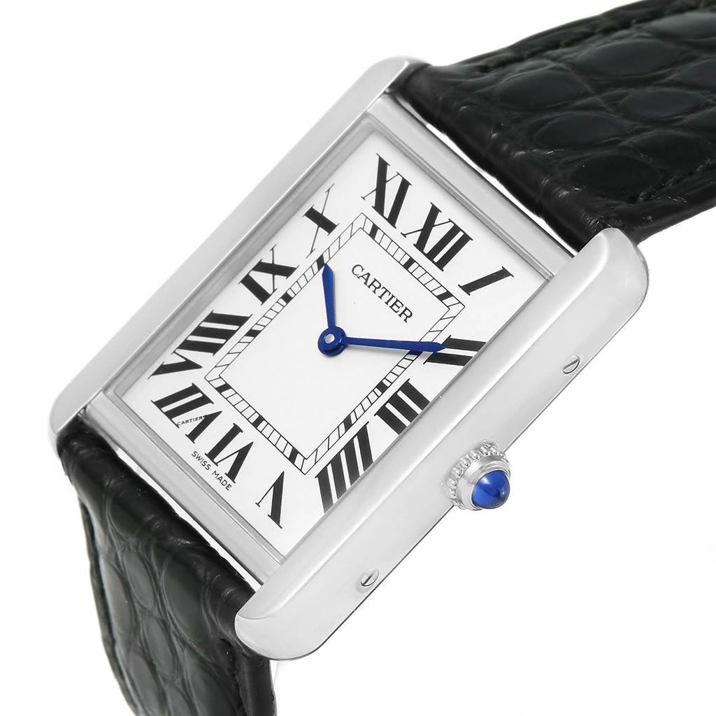 13503 Cartier Tank Solo Large Steel Silver Dial Black Strap Watch W1018355 SwissWatchExpo