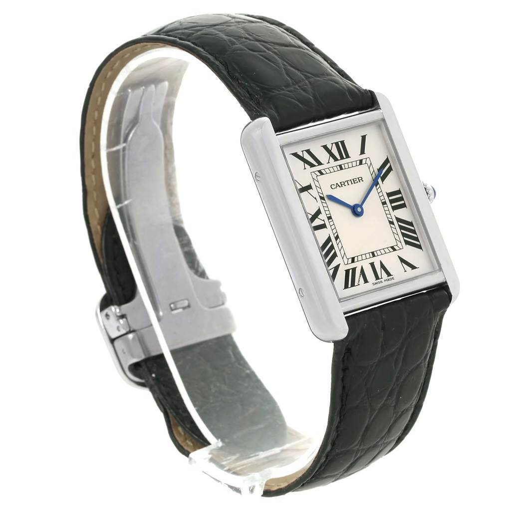 13489 Cartier Tank Solo Large Steel Silver Roman Dial Watch W1018355 SwissWatchExpo