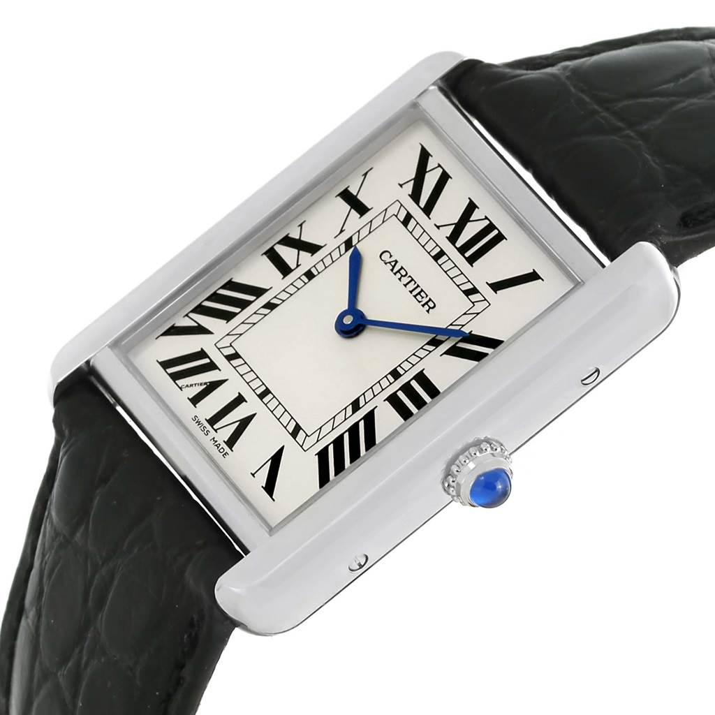 13489 Cartier Tank Solo Large Steel Silver Roman Dial Watch W1018355 SwissWatchExpo