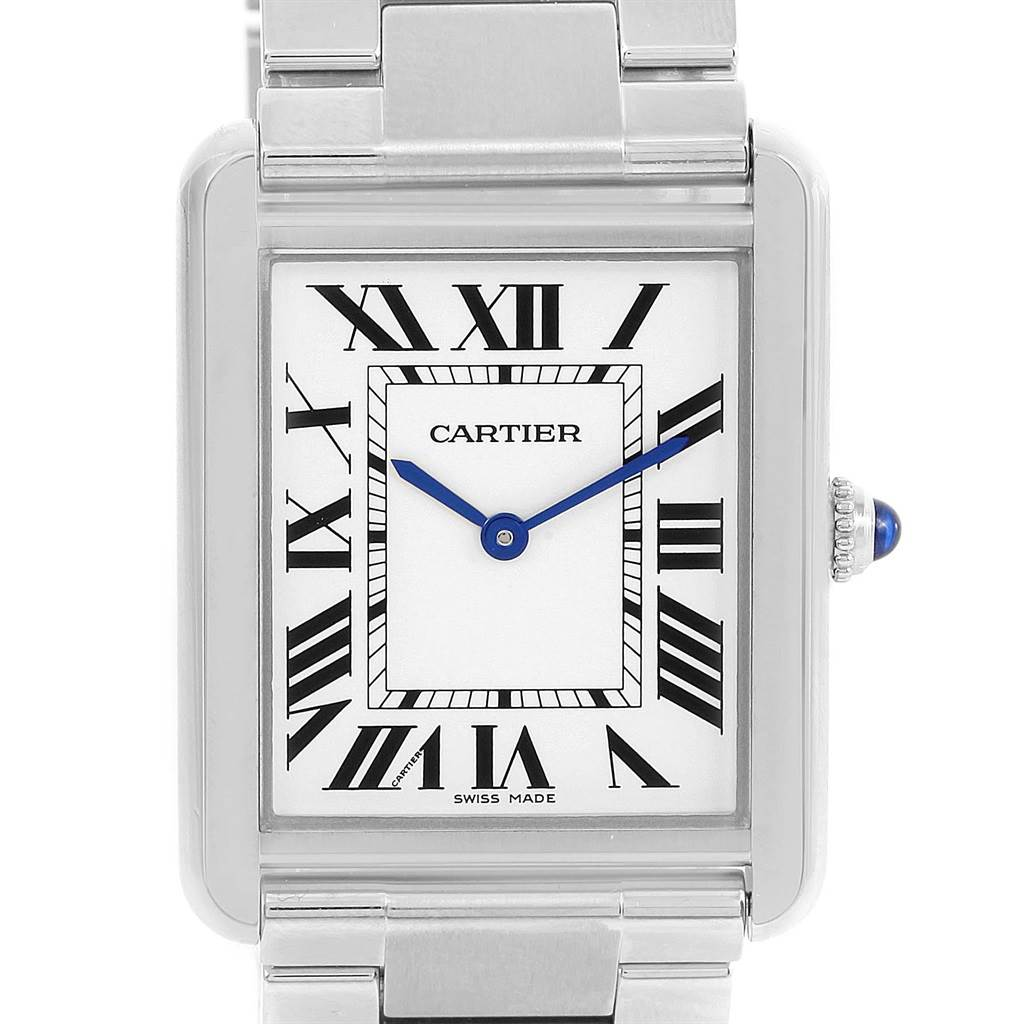 13769 Cartier Tank Solo Large Stainless Steel Silver Dial Watch W5200014 SwissWatchExpo