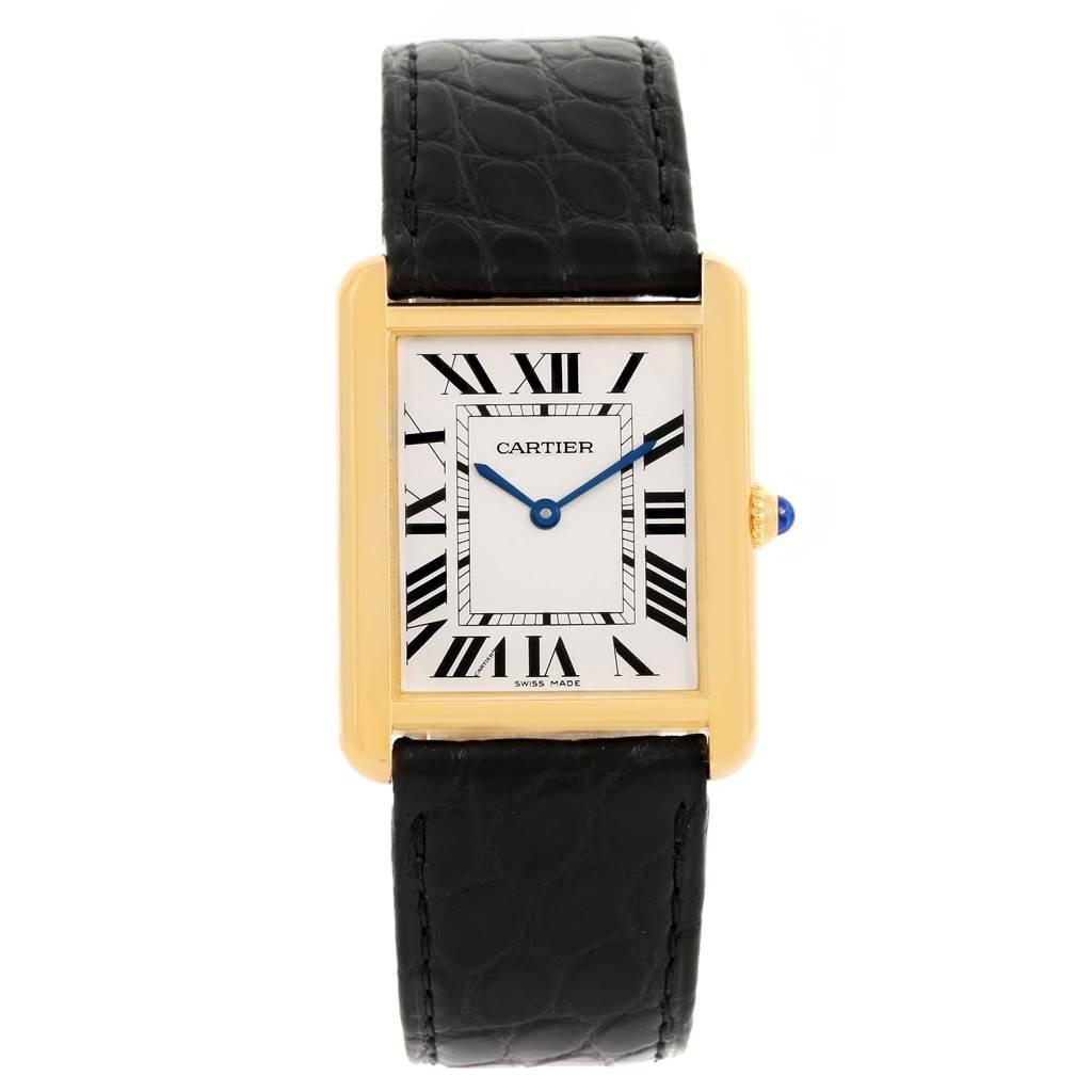 13884 Cartier Tank Solo 18k Yellow Gold Black Strap Watch W1018855 SwissWatchExpo