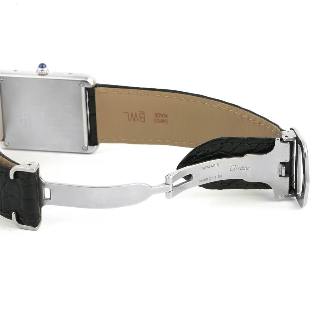 13972 Cartier Tank Solo Large Steel Silver Dial Black Strap Watch W1018355 SwissWatchExpo