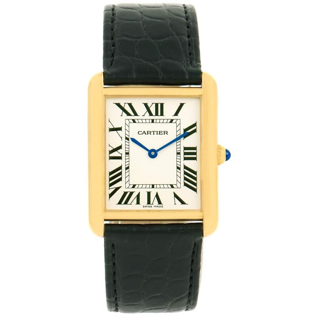 14166 Cartier Tank Solo 18k Yellow Gold Steel Silver Dial Watch W1018855 SwissWatchExpo