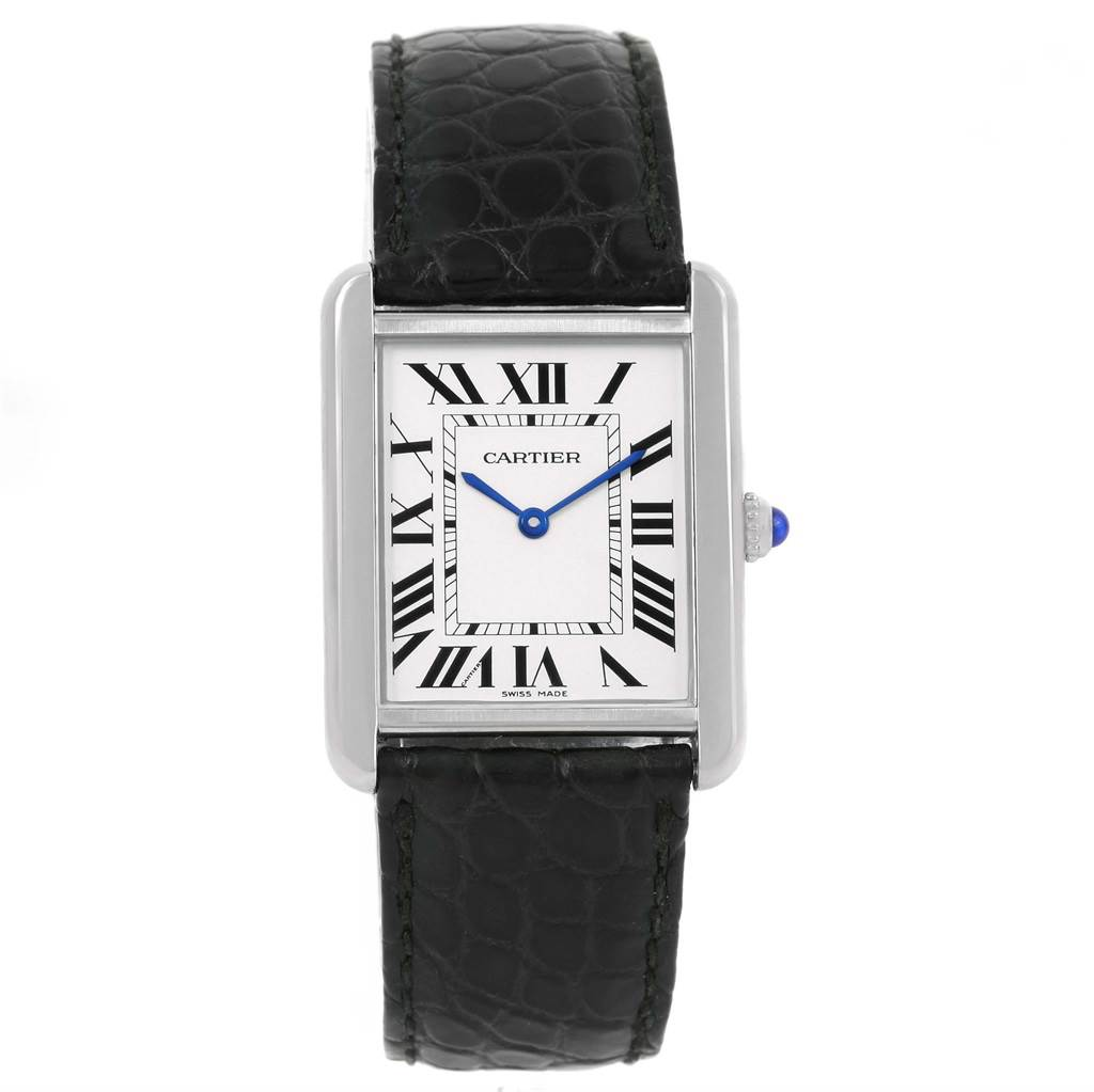 14004 Cartier Tank Solo Large Steel Silver Dial Unisex Watch W1018355 SwissWatchExpo