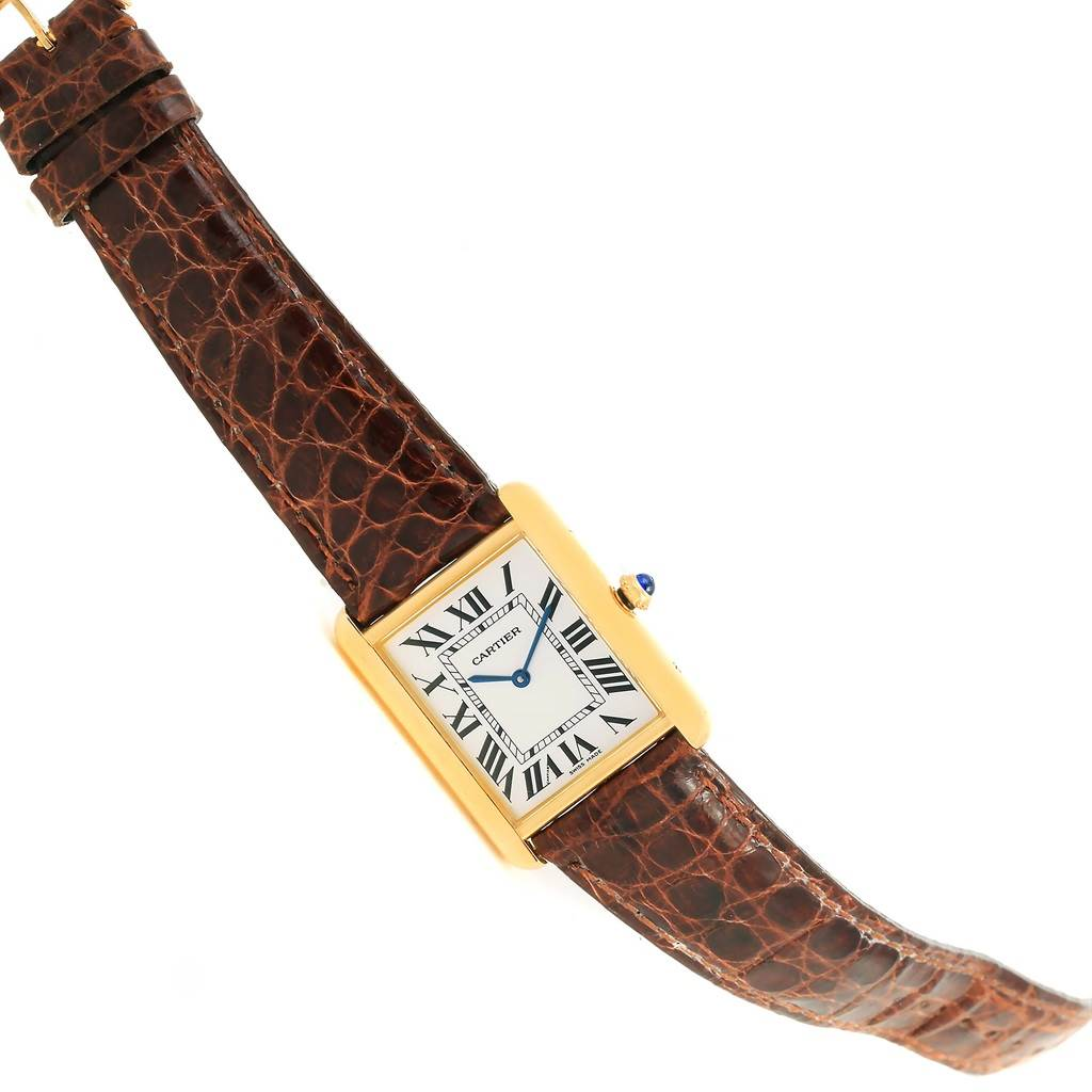 14178 Cartier Tank Solo 18k Yellow Gold Steel Brown Strap Watch W1018855 SwissWatchExpo