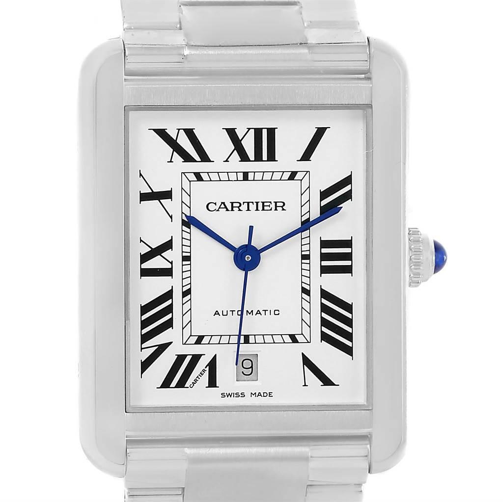 13654S Cartier Tank Solo XL Automatic Mens Date Watch W5200028 SwissWatchExpo