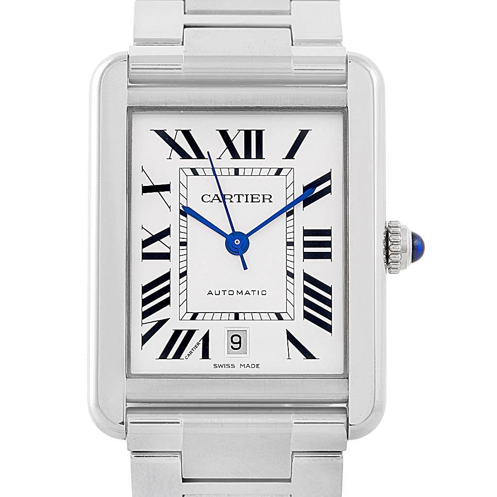 14037 Cartier Tank Solo XL Automatic Stainless Steel Watch W5200028 SwissWatchExpo