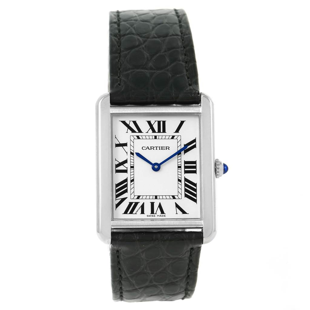 14003 Cartier Tank Solo Large Steel Silver Dial Black Strap Watch W1018355 SwissWatchExpo