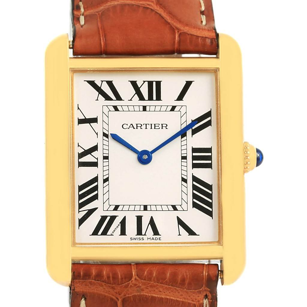 14217 Cartier Tank Solo 18k Yellow Gold Brown Strap Unisex Watch W1018855 SwissWatchExpo