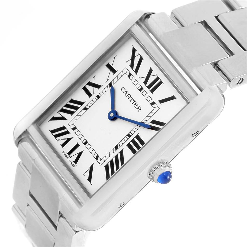 14038 Cartier Tank Solo Large Stainless Steel Silver Dial Watch W5200014 SwissWatchExpo
