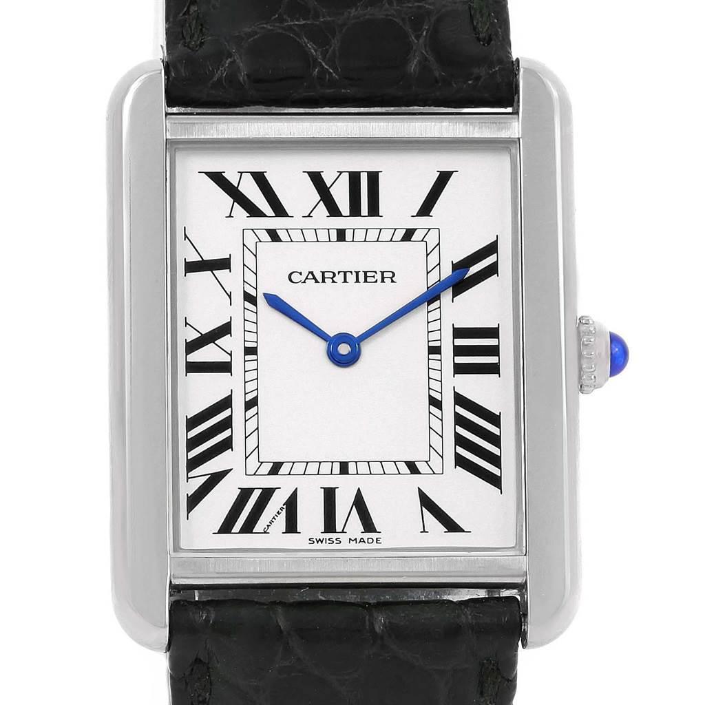 14421 Cartier Tank Solo Large Steel Silver Dial Quartz Watch W1018355 SwissWatchExpo