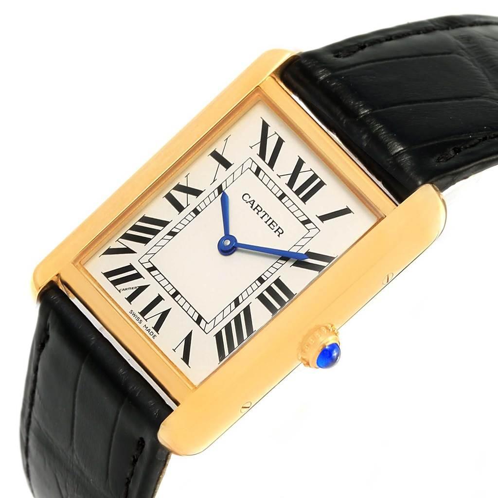 15048 Cartier Tank Solo Yellow Gold Steel Black Strap Unisex Watch W1018855 SwissWatchExpo