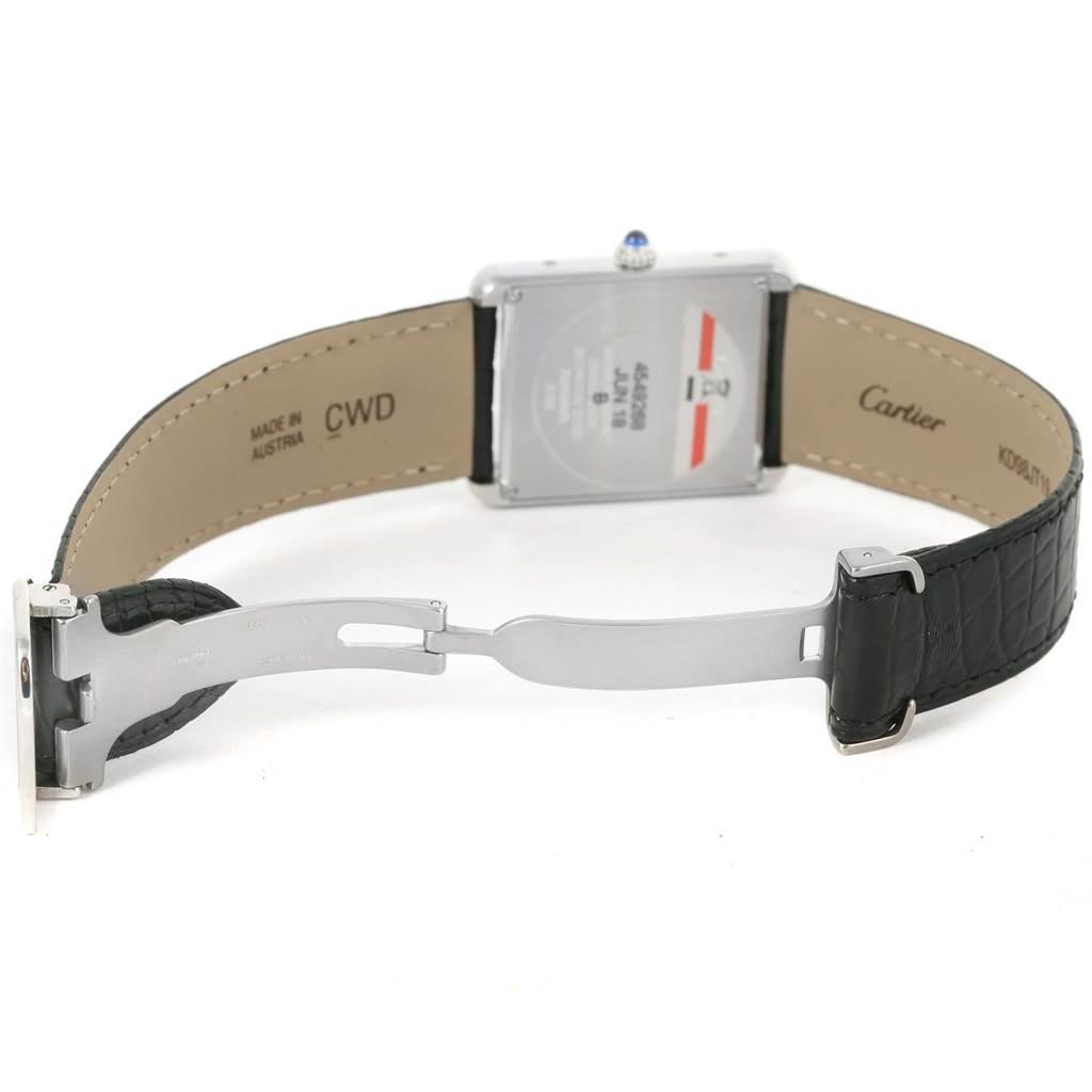 15120 Cartier Tank Solo Large Steel Silver Dial Black Strap Watch W1018355 SwissWatchExpo