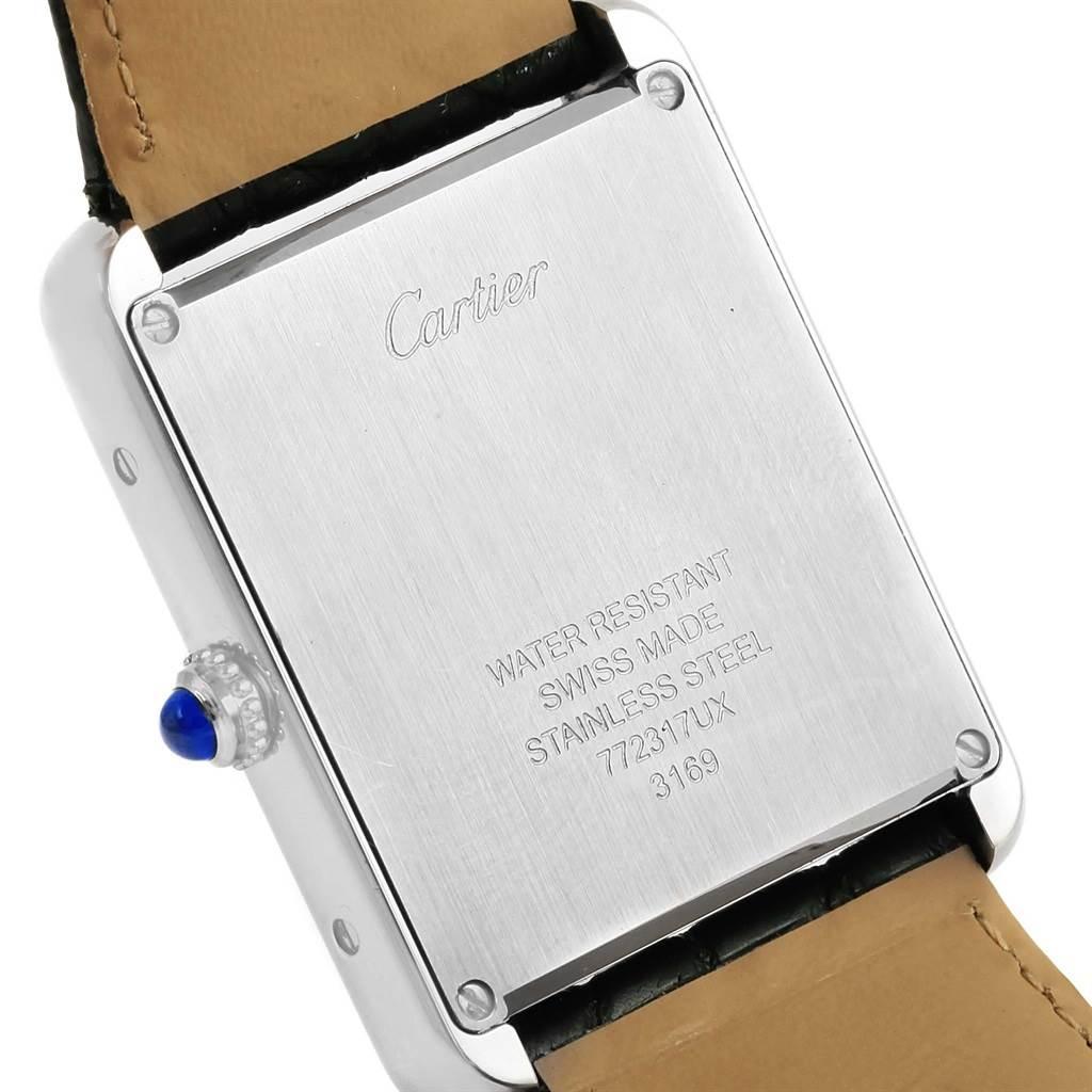 15130 Cartier Tank Solo Large Steel Silver Dial Quartz Watch W1018355 SwissWatchExpo