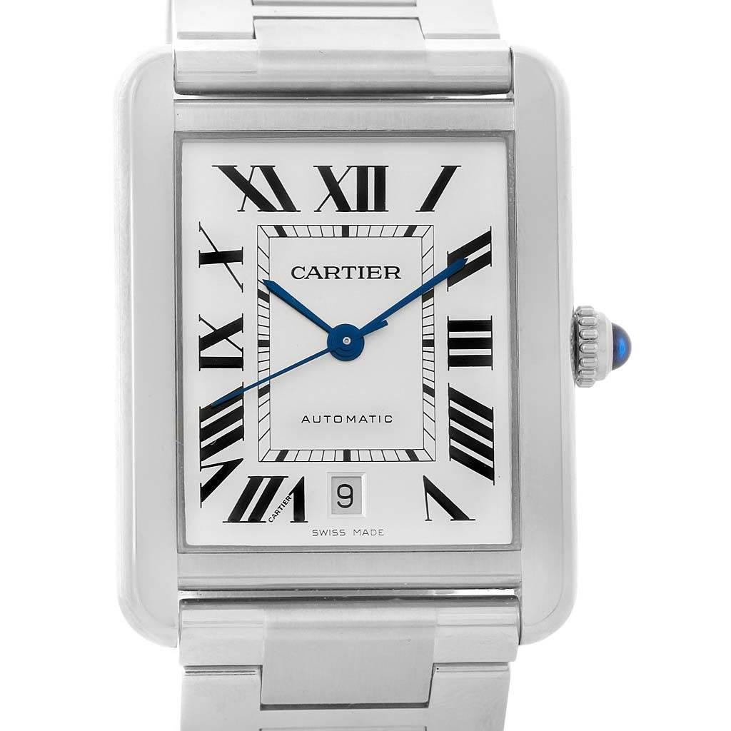 13653 Cartier Tank Solo XL Automatic Stainless Bracelet Watch W5200028 SwissWatchExpo
