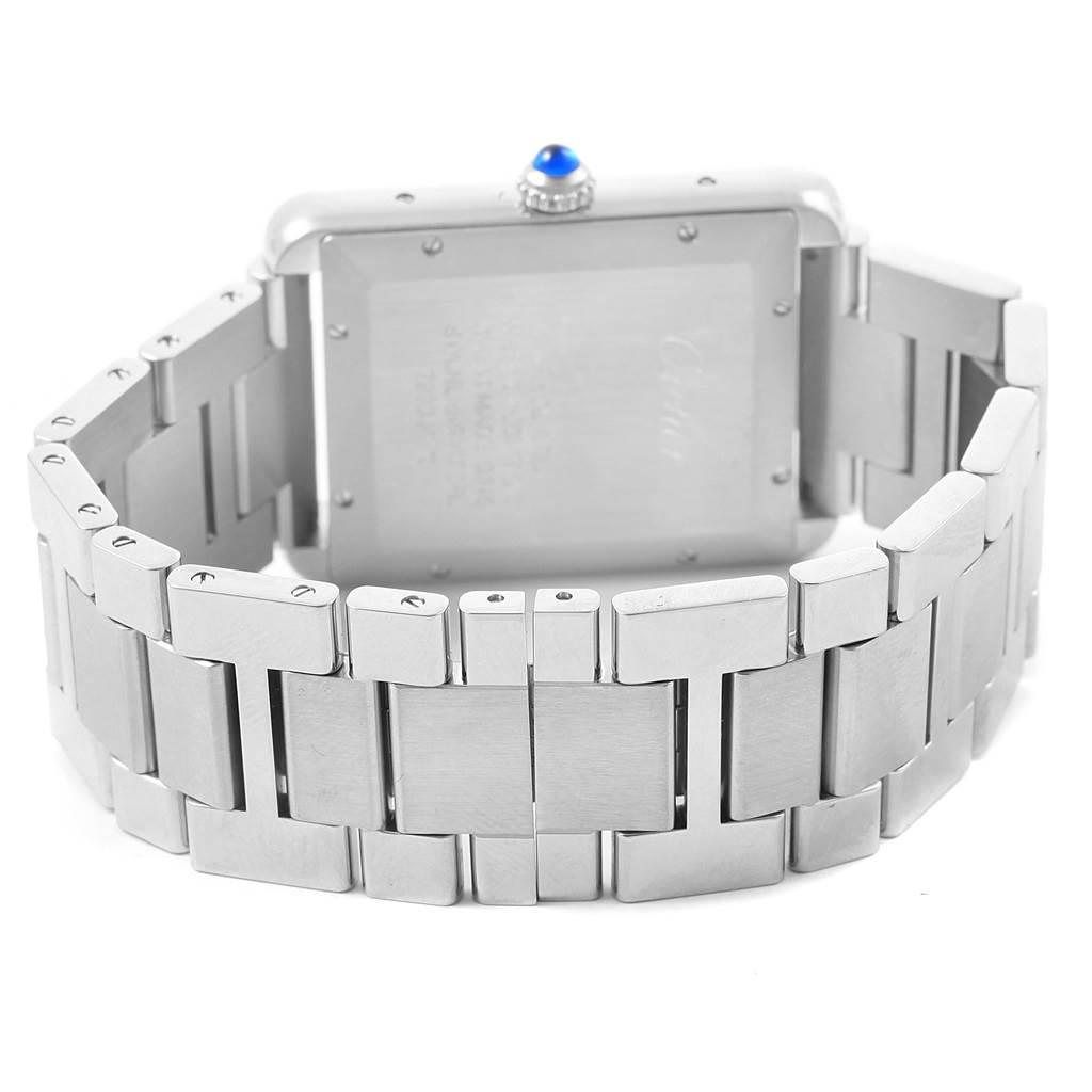 Cartier Tank Solo XL Silver Dial Steel Bracelet Mens Watch W5200028 SwissWatchExpo