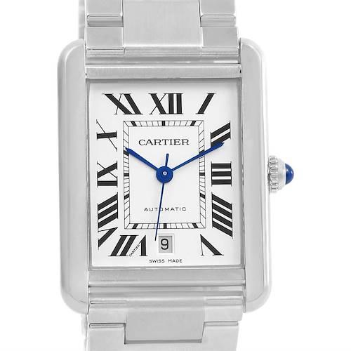 Photo of Cartier Tank Solo XL Silver Dial Steel Bracelet Mens Watch W5200028