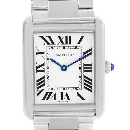 Photo of Cartier Tank Solo Stainless Steel Silver Dial Mens Watch W5200014