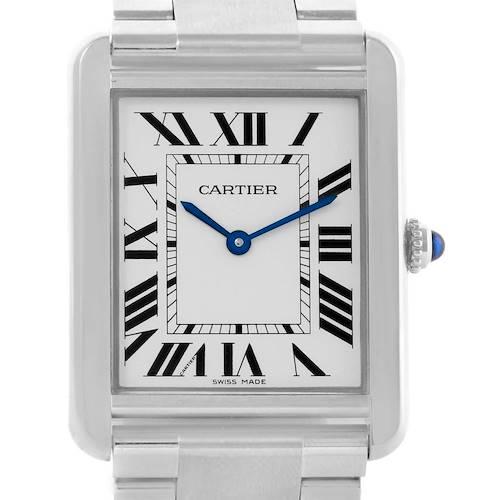 Photo of Cartier Tank Solo Silver Roman Dial Steel Quartz Mens Watch W5200014