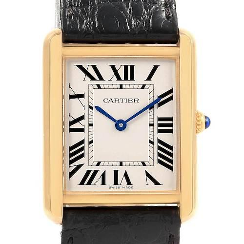 Photo of Cartier Tank Solo Yellow Gold Steel Black Strap Unisex Watch W1018855