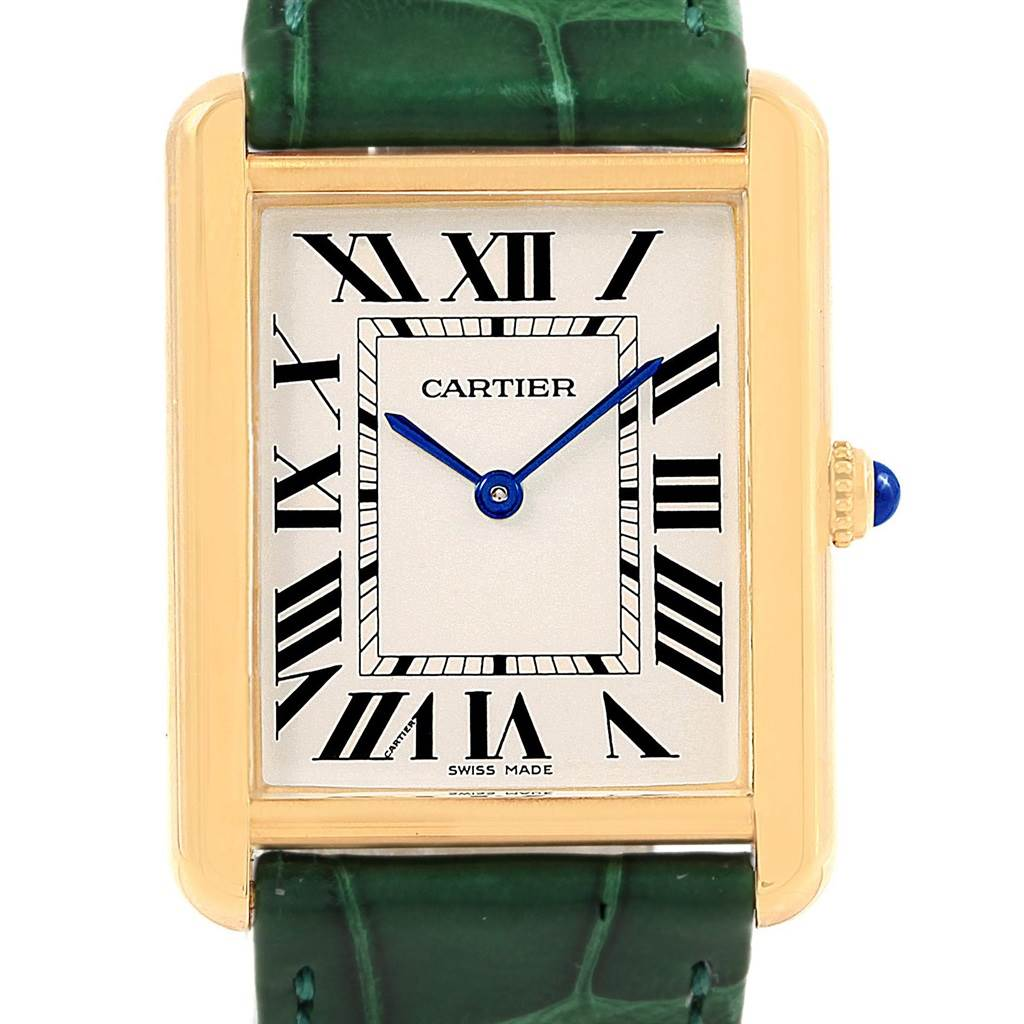 20216 Cartier Tank Solo Large Yellow Gold Steel Green Strap Unisex Watch W1018855 SwissWatchExpo