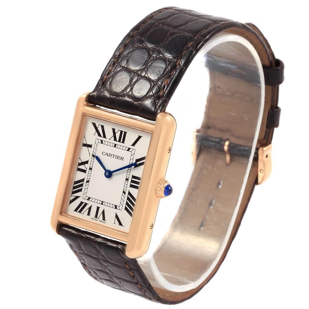 21139 Cartier Tank Solo Rose Gold Steel Brown Strap Mens Watch W5200025 SwissWatchExpo