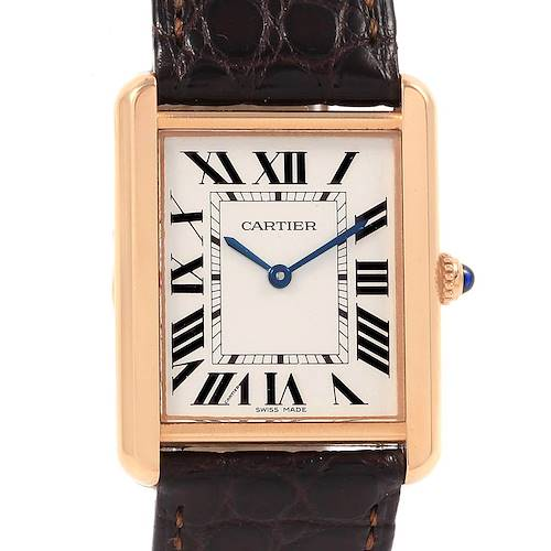 Photo of Cartier Tank Solo Rose Gold Steel Brown Strap Mens Watch W5200025