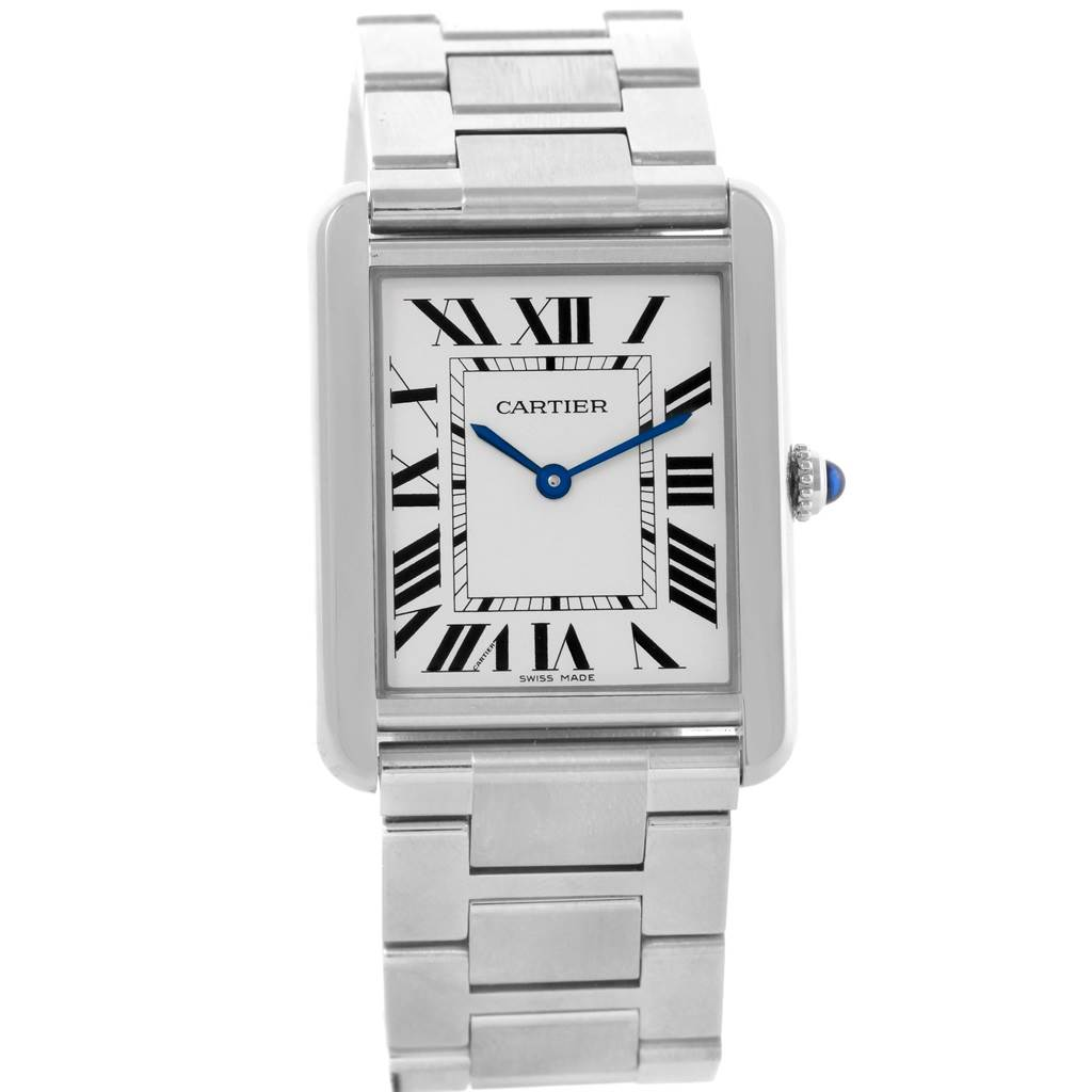 21138 Cartier Tank Solo Silver Dial Steel Mens Watch W5200014 SwissWatchExpo