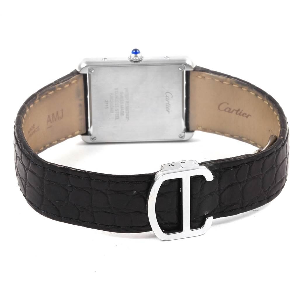 21086 Cartier Tank Solo Steel Silver Dial Black Strap Unisex Watch W1018355 SwissWatchExpo