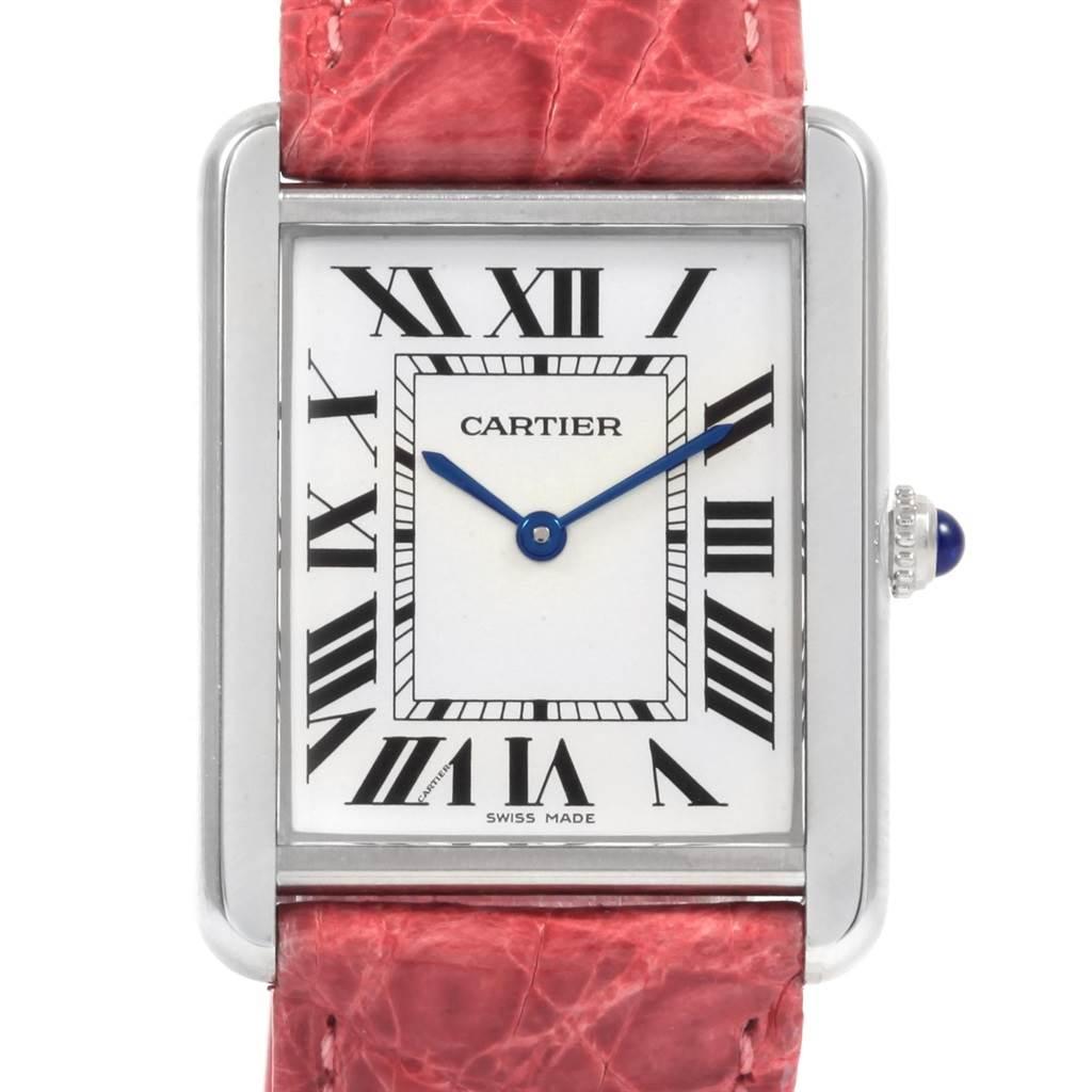21249 Cartier Tank Solo Steel Silver Dial Pink Strap Unisex Watch W1018355 SwissWatchExpo