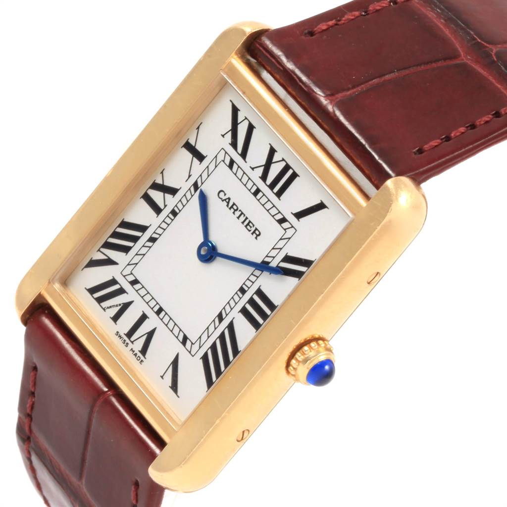 21608 Cartier Tank Solo Yellow Gold Steel Brown Strap Mens Watch W1018855 SwissWatchExpo