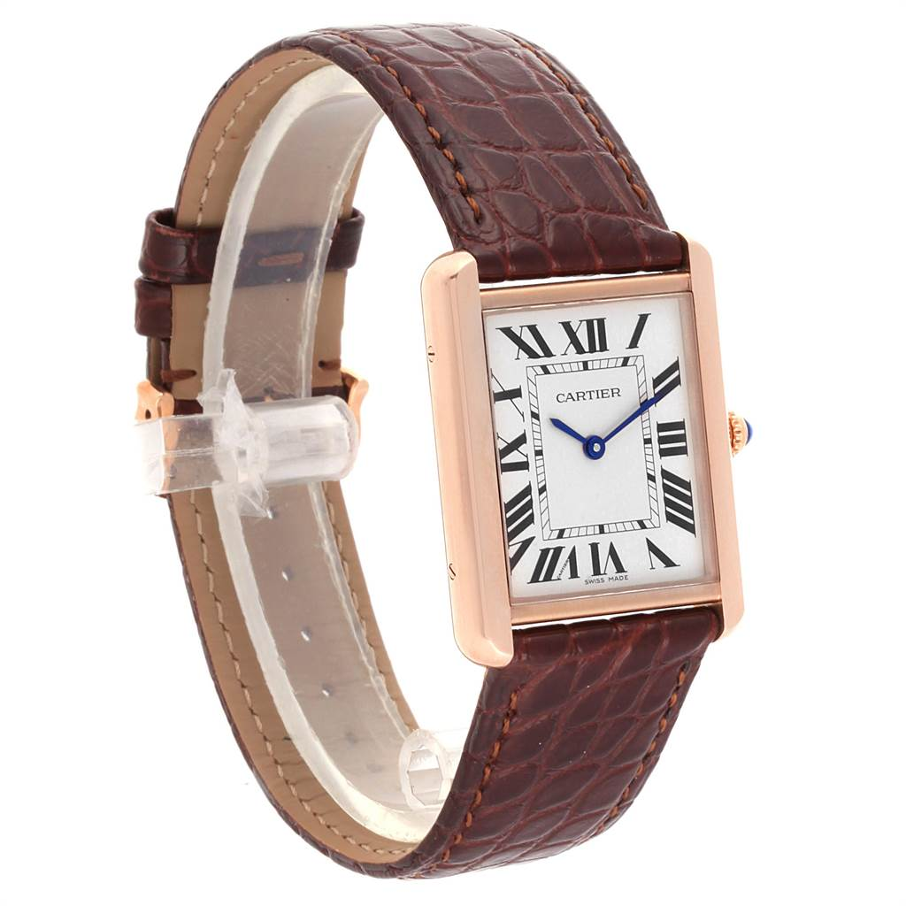 22458 Cartier Tank Solo Rose Gold Steel Brown Strap Large Watch W5200025 SwissWatchExpo