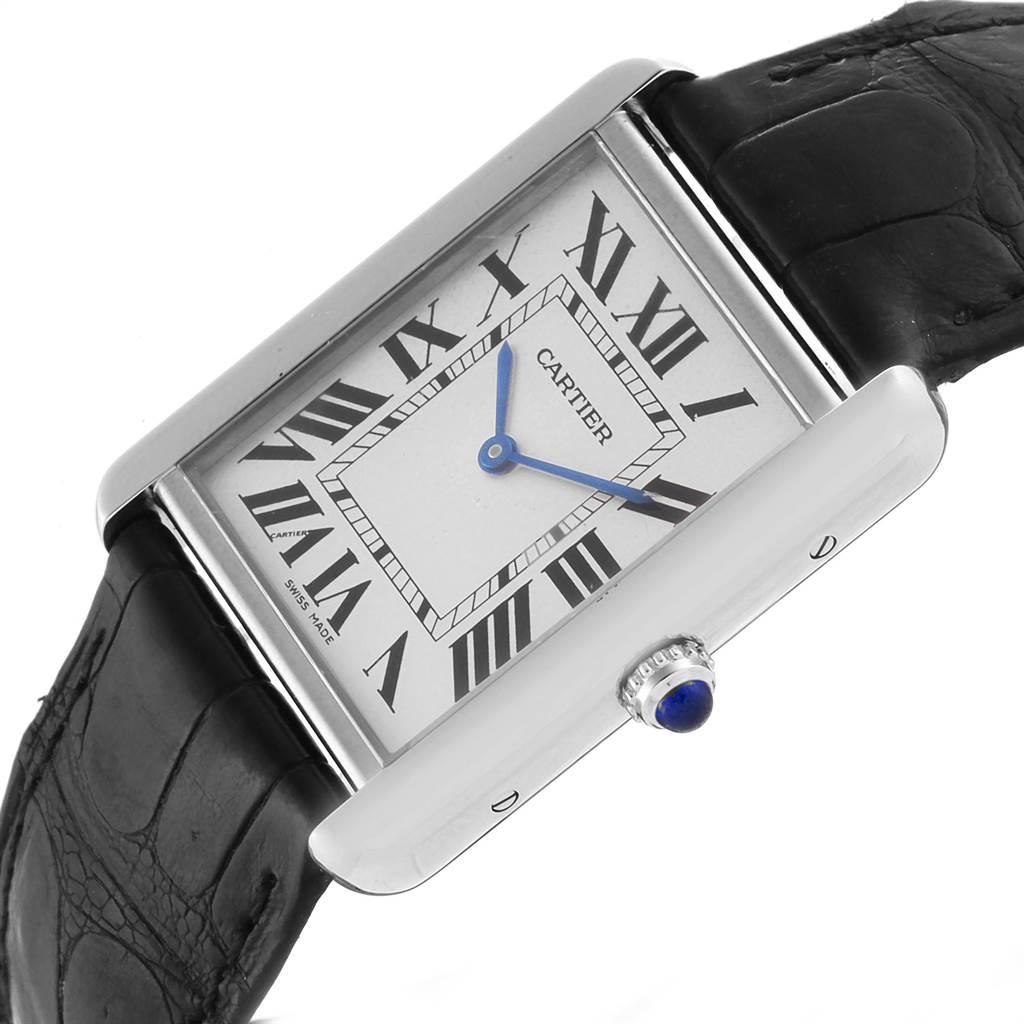 22892 Cartier Tank Solo Steel Silver Dial Black Strap Unisex Watch W1018355 SwissWatchExpo
