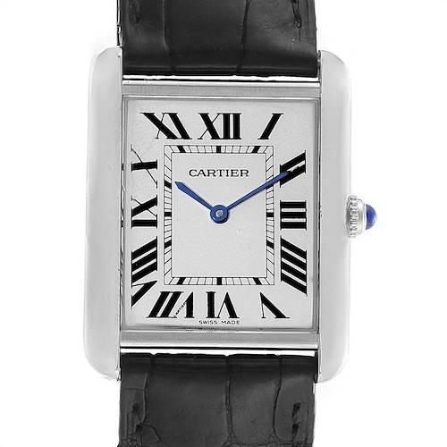 Photo of Cartier Tank Solo Steel Silver Dial Black Strap Unisex Watch W1018355
