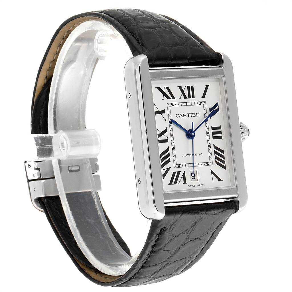 23230 Cartier Tank Solo XL Automatic Date Stainless Steel Mens Watch W5200027 SwissWatchExpo