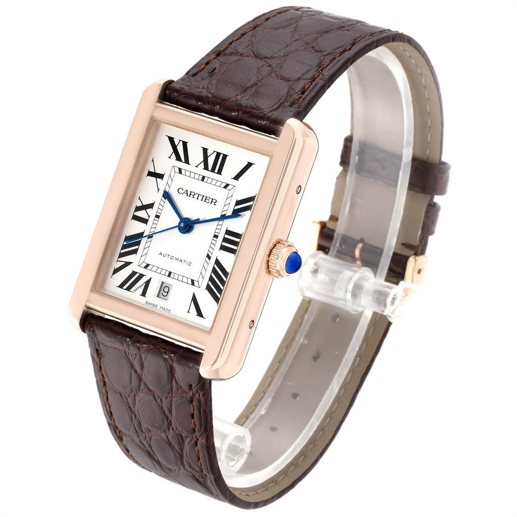 23857 Cartier Tank Solo XL Rose Gold Steel Silver Dial Mens Watch W5200026 SwissWatchExpo