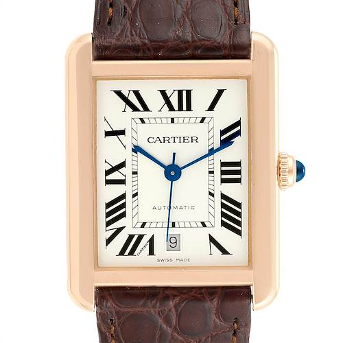Photo of Cartier Tank Solo XL Rose Gold Steel Silver Dial Mens Watch W5200026
